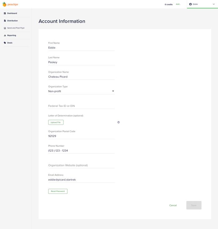 Account info - non-profit no file